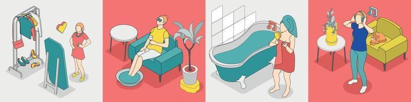 Self Care Concept Isometric Icon Set vector