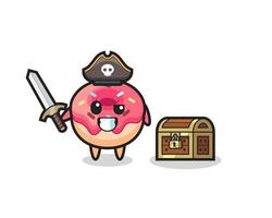 the doughnut pirate character holding sword beside a treasure box vector
