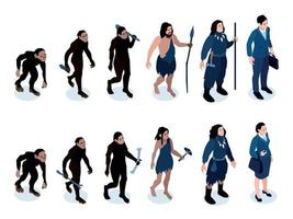 Isometric Human Evolution Set vector