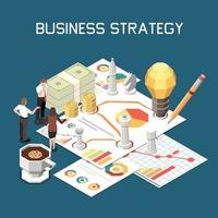 Business Strategy Isometric Composition vector
