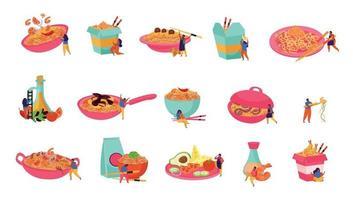 Wok Noodles Icon Set vector