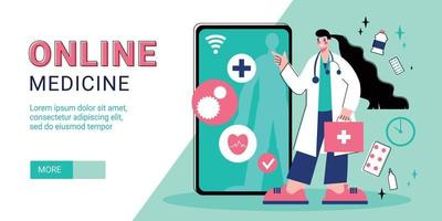 banner horizontal de medicina en línea vector
