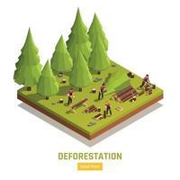 Lumberjack Isometric Composition vector