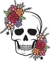 color de calavera floral vector
