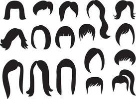 Big Set of Women Hair vector
