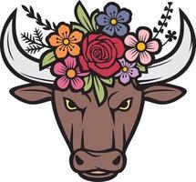 Floral Bull Head vector