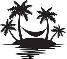 Summer Palm Tree and Hammock vector