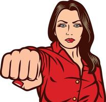 Woman Fist Punching vector