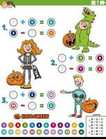 math addition and subtraction task with kids on Halloween vector