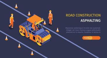 Road Construction Horizontal Banner vector