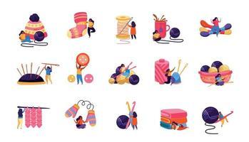 Knitting Hobby Icon Set vector