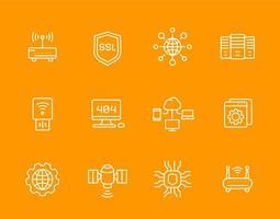 network, internet data technology, web hosting, ssl line icons set vector