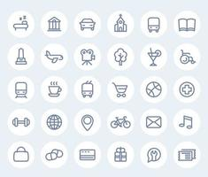 line icons on white, vector pictograms for maps and navigation apps