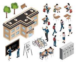 Isometric School Building Set vector