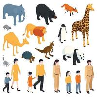 Isometric Zoo Icons Collection vector