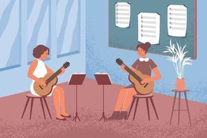 aprendiendo composición plana de guitarra vector