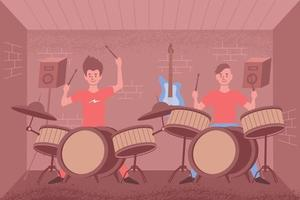 Percussion Class Flat Composition vector