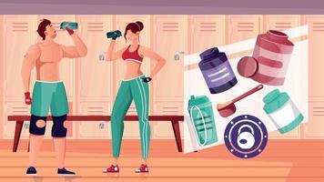 Bodybuilding Gym Nutritions Composition vector
