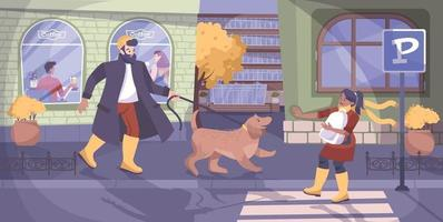 Child Safety And Dog Background vector