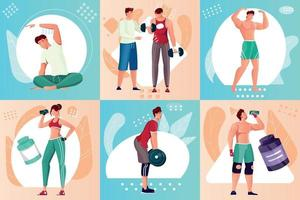 Bodybuilding Composition Set vector