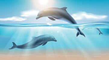 Jumping Dolphin Realistic Background vector