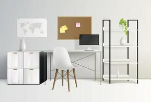 Office Interior Realistic Composition vector