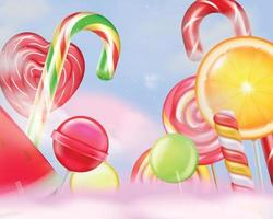 Lollypops Realistic Background Composition vector