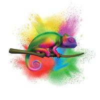 Chameleon Color Explosion Realistic vector