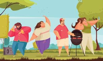 People on a barbecue vector