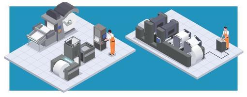 Printing House Isometric Composition vector