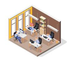 Burn-out Syndrome Isometric Concept vector