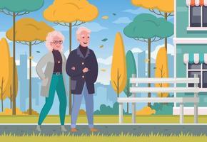 Elderly People Outdoor Cartoon vector