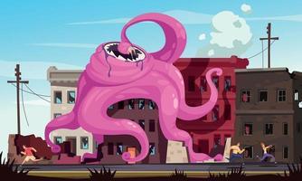 ilustración de monstruo de dibujos animados vector