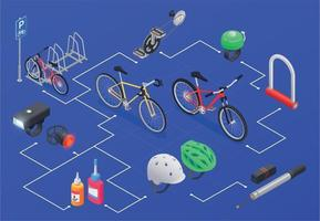 Bicycle Parts Isometric Flowchart vector