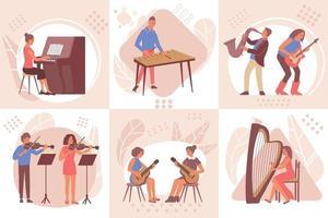 aprender el concepto de diseño de música vector
