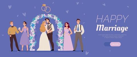 banner de ceremonia de matrimonio de boda vector