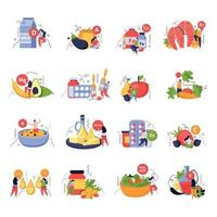 Vitamins In Products Icons Set vector