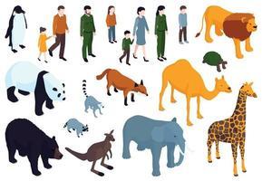 Isometric Zoo Icon Set vector