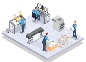 Print Service Isometric Composition vector