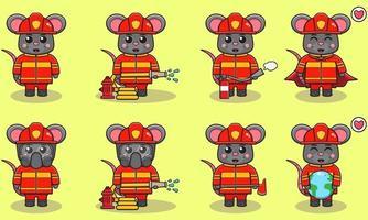Mouse Firefighter cartoon set vector
