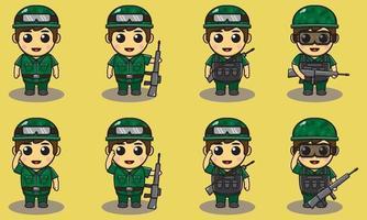 Cute Boy army set. vector