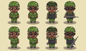 Cute cartoon illustration of a soldier vector