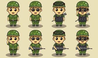 Soldiers Isolated vector illustration.