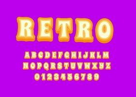 Retro 70s style font alphabet design vector