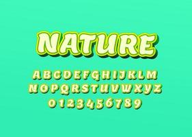 Fresh and nature style Custom font alphabet letters and numbers . vector
