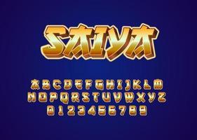 Retro futuristic japanese style custom font alphabet and number vector