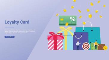 loyalty card bonus discount concept with team people and gift vector