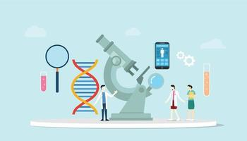genetic science health engineering concept with microscope vector