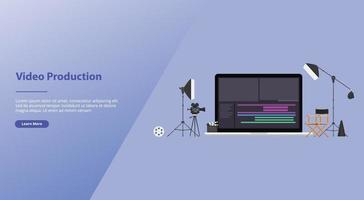 movie or video production concept with team video editor vector