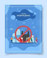 stop plastic concept people around prohibition of using packaging vector